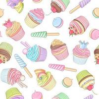 Cupcake pastry dessert seamless vector pattern