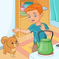 Young boy is being wary of hot kettle vector illustration