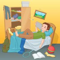 Lazy boy lying on bed with tablet vector illustration