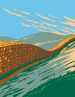 Hadrians Wall Northumberland National Park UK WPA  Art vector