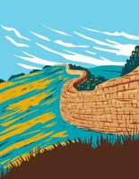 Hadrian's Wall near Brampton in Northumberland National Park England UK Art Deco WPA Poster Art vector