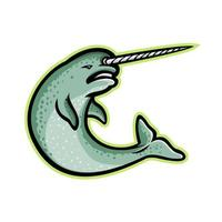 mascota de salto narval retro aislado vector
