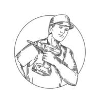 handyman with cordless drill doodle art vector