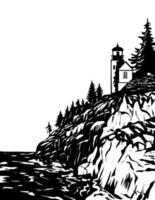 Bass Harbor Head Light in Acadia National Park Hancock County Maine USA WPA Woodcut Black and White Art vector