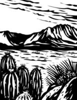 Chihuahuan Desert in Big Bend National Park West Texas USA Mexico Border WPA Woodcut Black and White Art vector