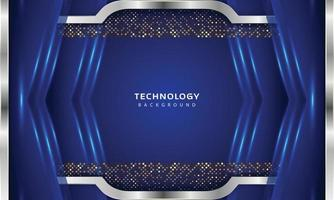 3D Overlap layers effect with blue color light decoration vector