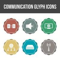 Unique Communication Glyph Vector Icon Set