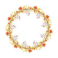 Floral wreath with autumn leaves and berries vector