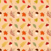 Autumn seamless pattern with leaves, mushrooms and rowan. vector