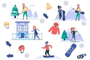 Winter sports isolated elements set. Bundle of men and women skate, ski or snowboard, play hockey, clothing and equipment for activities. Creator kit for vector illustration in flat cartoon design