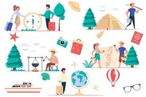Tourism and camping isolated elements set. Bundle of people go on hike, relax with tents in nature, pick mushrooms, cooking, travel world. Creator kit for vector illustration in flat cartoon design