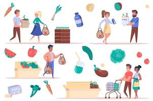 Grocery shopping isolated elements set. Bundle of men and women with bags and trolleys buy food, vegetables and fruits lie on counters. Creator kit for vector illustration in flat cartoon design