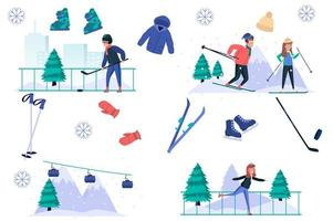 Winter sports isolated elements set. Bundle of men and women skiing, skating, playing hockey, funicular works, equipment for activities. Creator kit for vector illustration in flat cartoon design