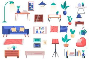 Furniture, house plants and decor isolated elements set. Bundle of sofa with pillows, tables, lamps, pillows, shelves, paintings and other. Creator kit for vector illustration in flat cartoon design