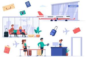 Airport terminal isolated elements set. Bundle of passengers go passport control, tourists with luggage sitting in waiting room, world trip. Creator kit for vector illustration in flat cartoon design
