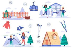 Ski resort isolated elements set. Bundle of people rest in mountains in winter, swim in hot bathtub, make snowman, go skiing and funicular. Creator kit for vector illustration in flat cartoon design