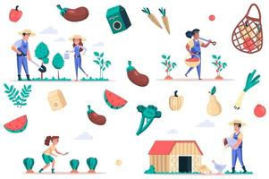 Farming and gardening isolated elements set. Bundle of people plant and water for plants, care chickens, harvest fruits and vegetables. Creator kit for vector illustration in flat cartoon design