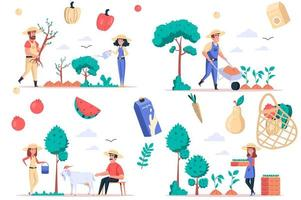 Farming and gardening isolated elements set. Bundle of people plant trees and seedling, care of plants and goats, grow fruits and vegetables. Creator kit for vector illustration in flat cartoon design