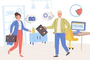 Time management concept. Man and woman work together in office, planning work tasks, organize workflow, optimization process, productivity and deadlines. Vector illustration in trendy flat design