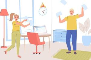 Deadline concept. Frightened employees fail to complete their work tasks on time. Overworked workers rush to complete paperwork in office. Time management. Vector illustration in trendy flat design