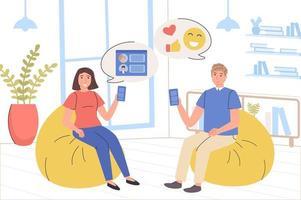 la gente navega por el concepto de red social. chats de hombres y mujeres, me gusta fotos, escribir comentarios, seguir bloggers, leer publicaciones. comunicación online, adicción a internet. ilustración vectorial en diseño plano de moda vector