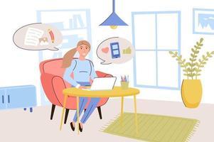 concepto de blogs. mujer bloguera escribe artículos y publica fotos en blogs personales, se comunica con sus seguidores. creación de contenidos y negocios online. ilustración vectorial en diseño plano de moda vector