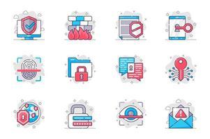 Conjunto de iconos de línea plana de concepto de seguridad cibernética. protección de datos en internet. paquete de escudo, acceso, clave, huella digital, privacidad, contraseña, otro. símbolos de esquema de paquete conceptual vectorial para aplicaciones móviles vector