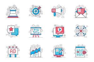 concepto de marketing conjunto de iconos de línea plana. estrategia de promoción empresarial exitosa. paquete de destino, atracción, redes, optimización y otros. símbolos de esquema de paquete conceptual vectorial para aplicaciones móviles vector