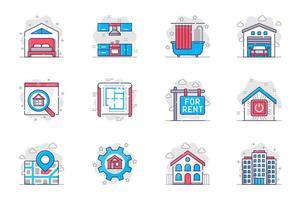 Real estate concept flat line icons set. Buying or renting house or apartment. Bundle of bedroom, kitchen, bathroom, garage, blueprint, other. Vector conceptual pack outline symbols for mobile app