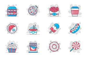 Fast food concept flat line icons set. Tasty unhealthy foods and sweets. Bundle of hamburger, pizza, fries, croissant, noodles, ice cream, other. Vector conceptual pack outline symbols for mobile app