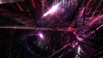 glow pink red blue purple chaos Triangle Moving in mesh tunnel animation. video