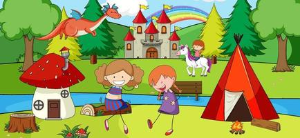 Scene with many kids doodle cartoon character in nature park vector