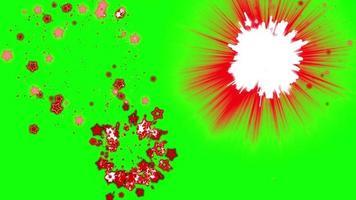 rode ster deeltje vuurwerk groen scherm achtergrond video