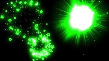 groene ster deeltje vuurwerk achtergrond lus animatie video
