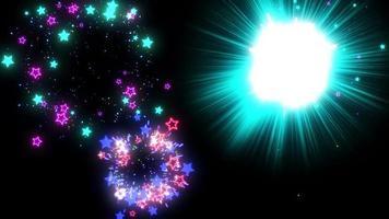 kleurrijke ster deeltje vuurwerk achtergrond lus animatie video