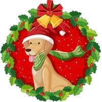 Cartoon golden retriever dog in Christmas wreath isolated vector