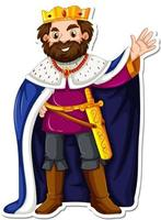 King with blue robe cartoon character sticker vector