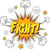 FIGHT text on comic cloud explosion isolated on white background vector