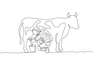 One single line drawing of astronaut squat down milking cow and put into milk can bucket in moon surface graphic vector illustration. Outer space farming concept. Modern continuous line draw design
