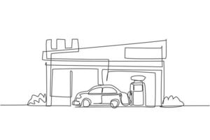 Single one line drawing of gas station for refueling car gasoline. Rest area construction building isolated doodle minimal concept. Trendy continuous line draw design graphic vector illustration