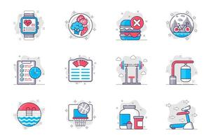 Fitness concept flat line icons set. Healthy lifestyle and sports activity. Bundle of diet, bike, barbell, punching bag, pool, basketball, other. Vector conceptual pack outline symbols for mobile app