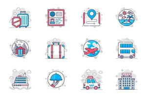 Travel vacation concept flat line icons set. World tourism and recreation. Bundle of luggage, ticket, route, sea, resort, mountain, hiking, other. Vector conceptual pack outline symbols for mobile app