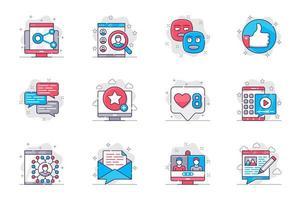 Conjunto de iconos de línea plana de concepto de redes sociales. redes y comunicación en línea. paquete de enlace, búsqueda, usuario, emoticon, me gusta, chat, clasificación, otro. símbolos de esquema de paquete conceptual vectorial para aplicaciones móviles vector