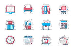 Office supplies concept flat line icons set. Management and workplace organization. Bundle of computer, folder, chair, briefcase, calendar, other. Vector conceptual pack outline symbols for mobile app