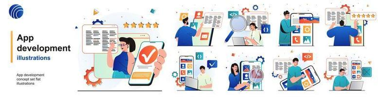 App development isolated set. Programmers develop software and software. People collection of scenes in flat design. Vector illustration for blogging, website, mobile app, promotional materials.