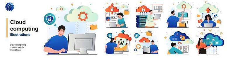 Cloud computing isolated set. Secure connection, storage and cloud technology. People collection of scenes in flat design. Vector illustration for blogging, website, mobile app, promotional materials.