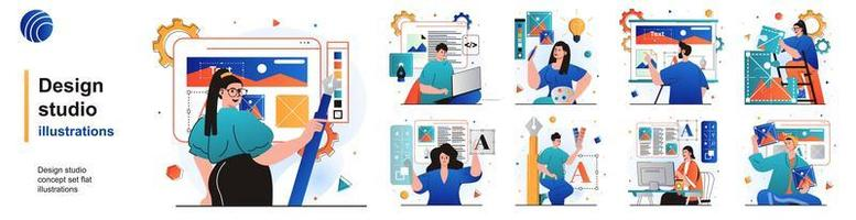 Design studio isolated set. Designers create content and graphic elements. People collection of scenes in flat design. Vector illustration for blogging, website, mobile app, promotional materials.