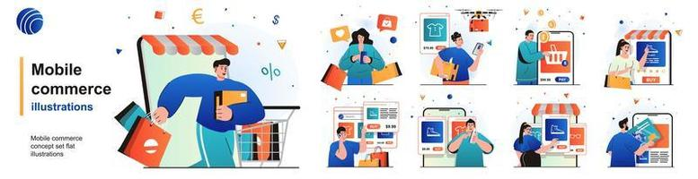 Mobile commerce isolated set. Shopping in mobile app, e-commerce, e-business. People collection of scenes in flat design. Vector illustration for blogging, website, mobile app, promotional materials.