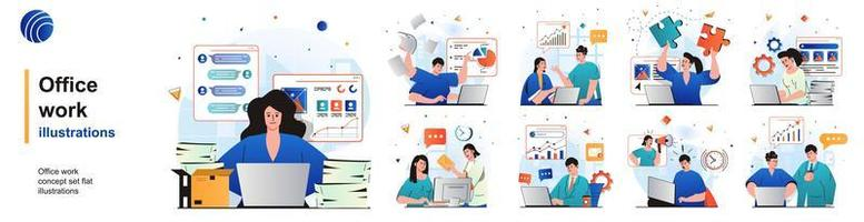 Office work isolated set. Employees analyze data, paperwork, perform tasks. People collection of scenes in flat design. Vector illustration for blogging, website, mobile app, promotional materials.