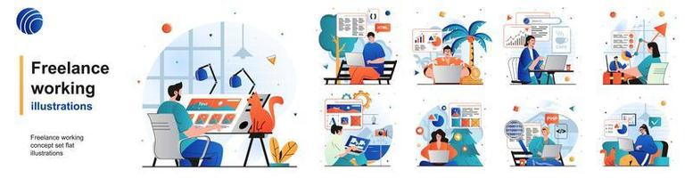 Freelance working isolated set. Remote employees with laptops in home offices. People collection of scenes in flat design. Vector illustration for blogging, website, mobile app, promotional materials.